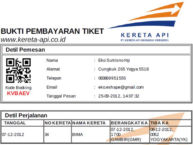 Tiket KA Bima 7 Desember 2012
